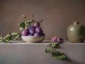 Composizione con prugne - 2016 olio su tavola incamottata cm 45x70© Gianluca Corona