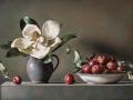 Composizione con prugne e magnolia - 2013 olio su tavola incamottata cm 40x60 © Gianluca Corona