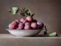 Piatto con Prugne - 2016 olio su tavola incamottata cm 30x45© Gianluca Corona